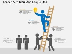 Leader With Team And Unique Idea Powerpoint Template