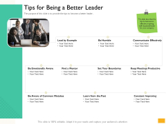 Leaders Vs Managers Tips For Being A Better Leader Ppt Infographic Template Design Templates PDF