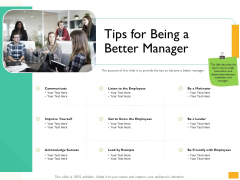 Leaders Vs Managers Tips For Being A Better Manager Ppt Layouts Styles PDF