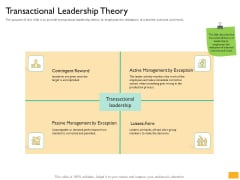 Leaders Vs Managers Transactional Leadership Theory Ppt Gallery Visuals PDF