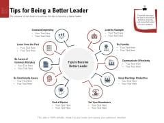Leadership And Management Tips For Being A Better Leader Icons PDF