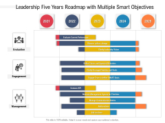 Leadership Five Years Roadmap With Multiple Smart Objectives Template