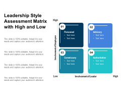 Leadership Style Assessment Matrix With High And Low Ppt PowerPoint Presentation Styles Inspiration PDF