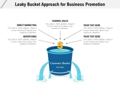 Leaky Bucket Approach For Business Promotion Ppt PowerPoint Presentation Infographic Template Deck PDF
