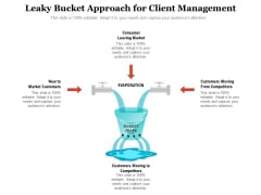 Leaky Bucket Approach For Client Management Ppt PowerPoint Presentation Icon Show PDF