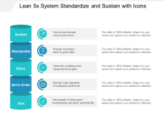 Lean 5S System Standardize And Sustain With Icons Ppt PowerPoint Presentation Icon Show