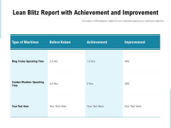 Lean Blitz Report With Achievement And Improvement Ppt PowerPoint Presentation Infographic Template Clipart Images PDF