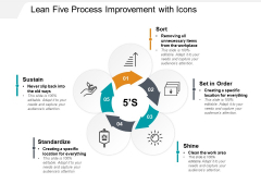 Lean Five Process Improvement With Icons Ppt PowerPoint Presentation Model Design Templates