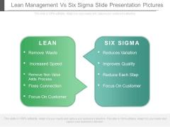 Lean Management Vs Six Sigma Slide Presentation Pictures