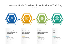 Learning Goals Obtained From Business Training Ppt PowerPoint Presentation Inspiration Infographics PDF