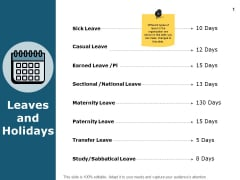 Leaves And Holidays Calender Ppt PowerPoint Presentation Portfolio Demonstration