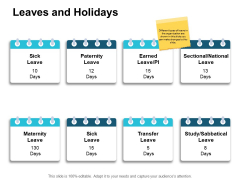 Leaves And Holidays Planning Ppt PowerPoint Presentation Infographic Template Layout Ideas
