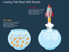 Leaving Fish Bowl With Rocket Powerpoint Templates