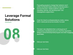 Leverage Formal Solutions Ppt PowerPoint Presentation Pictures Templates
