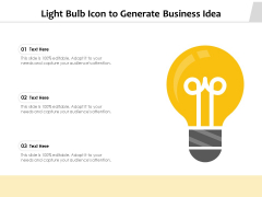Light Bulb Icon To Generate Business Idea Ppt PowerPoint Presentation Pictures Visuals PDF