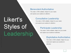 Likerts Styles Of Leadership Ppt PowerPoint Presentation Icon