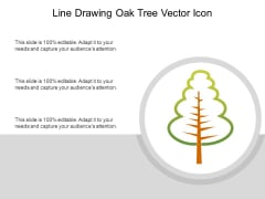 Line Drawing Oak Tree Vector Icon Ppt PowerPoint Presentation Model Example PDF