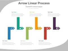 Linear Arrows Steps Process Diagram Powerpoint Slides