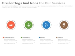 Linear Circle Tags With Icons Powerpoint Slides