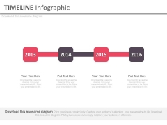 Linear Flow Year Based Timeline Diagram Powerpoint Slides