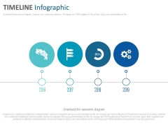 Linear Timeline Diagram With Icons Powerpoint Slides