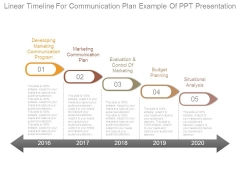 Linear Timeline For Communication Plan Example Of Ppt Presentation