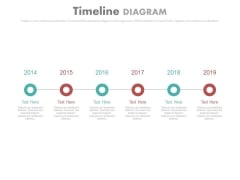 Linear Timeline With Years For Business Agenda Powerpoint Slides