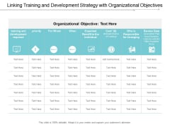 Linking Training And Development Strategy With Organizational Objectives Ppt Powerpoint Presentation Inspiration Format