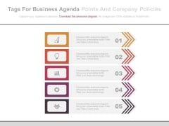 List Diagram Of Business Agenda Points Powerpoint Slides