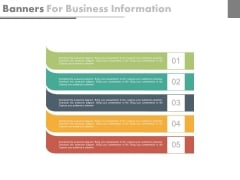 List Diagram Of Five Business Steps Powerpoint Template