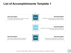 List Of Accomplishments 2018 To 2020 Ppt PowerPoint Presentation Ideas Graphics Example