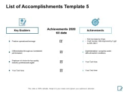 List Of Accomplishments Achievements Ppt PowerPoint Presentation Layouts Icons