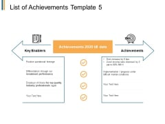 List Of Achievements Enablers Ppt PowerPoint Presentation Layouts Microsoft
