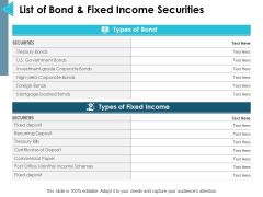 List Of Bond And Fixed Income Securities Ppt PowerPoint Presentation Layouts Graphics Design