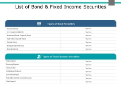 List Of Bond And Fixed Income Securities Ppt PowerPoint Presentation Show Slide Portrait