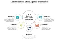 List Of Business Steps Agenda Infographics Ppt PowerPoint Presentation Portfolio Icon