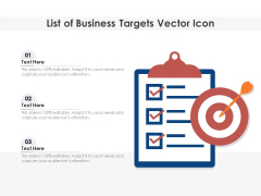 List Of Business Targets Vector Icon Ppt PowerPoint Presentation Styles Portrait PDF