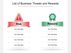 List Of Business Threats And Rewards Ppt PowerPoint Presentation Pictures Template PDF
