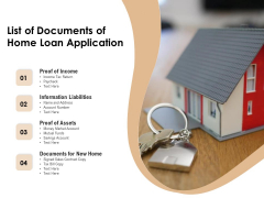 List Of Documents Fo Home Loan Application Ppt PowerPoint Presentation Show Clipart Images PDF