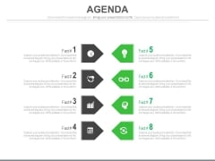 List Of Eight Agenda Points And Icons Powerpoint Slides