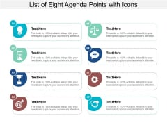 List Of Eight Agenda Points With Icons Ppt PowerPoint Presentation Styles Design Templates