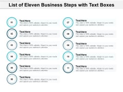 List Of Eleven Business Steps With Text Boxes Ppt PowerPoint Presentation Slides Icons