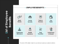 List Of Employee Benefits Achievement Ppt PowerPoint Presentation Icon Objects