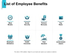 List Of Employee Benefits Health Insurance Ppt PowerPoint Presentation Icon Aids