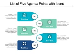 List Of Five Agenda Points With Icons Ppt PowerPoint Presentation Pictures Demonstration