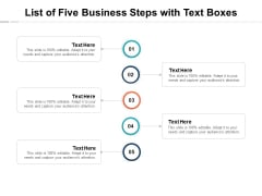 List Of Five Business Steps With Text Boxes Ppt PowerPoint Presentation Model Rules