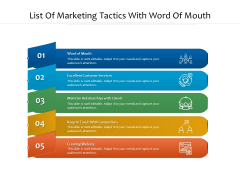 List Of Marketing Tactics With Word Of Mouth Ppt PowerPoint Presentation File Infographics PDF