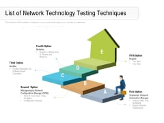 List Of Network Technology Testing Techniques Ppt PowerPoint Presentation Portfolio Graphics Template PDF