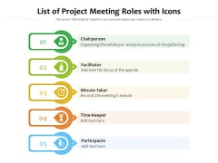 List Of Project Meeting Roles With Icons Ppt PowerPoint Presentation File Ideas PDF