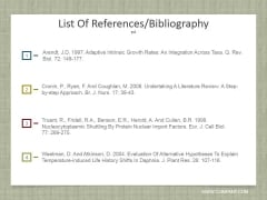 List Of References Bibliography Ppt PowerPoint Presentation Infographic Template Background Designs